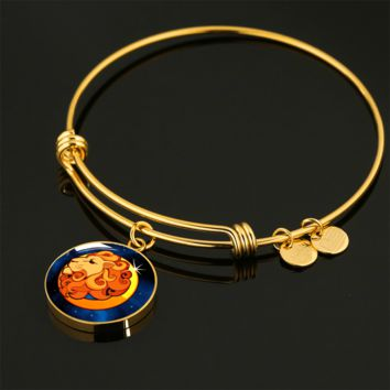 Zodiac Sign Leo - 18k Gold Finished Bangle Bracelet