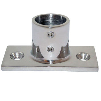 "Whitecap 1"" O.D. 90° 2-Hole Rectangle Base SS Rail Fitting"