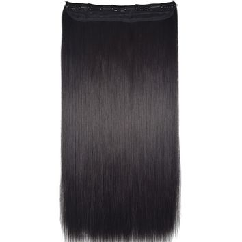 "Heat Resistant B5 Synthetic Hair Fiber 24"" 60cm 120gr Straight 5 Clips on clip in Hair Extensions"