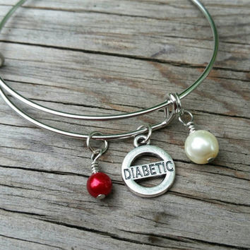 Diabetes bracelet - medical alert charm bangle - Classy medical jewelry accessory. Perfect gift for loved ones with blood sugar problems