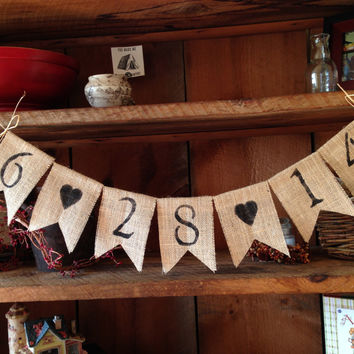 Save the Date Burlap Bunting, Wedding Decor, Photo Prop, Wedding Bunting, Burlap Bunting, Pennant, Garland