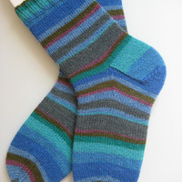 hand knit womens wool socks, UK 6-8 US 8-10