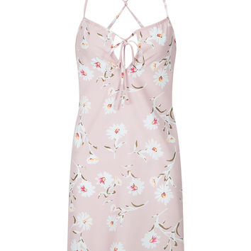 Pink V-neck Floral Tie Front Backless Spaghetti Strap Mini Dress