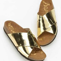 Sam Edelman Adora Metallic Slide Sandal- Gold