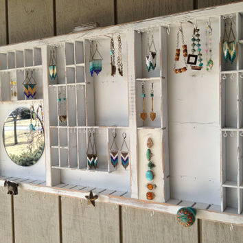 White Letterpress Jewelry Display with Colorful Knobs