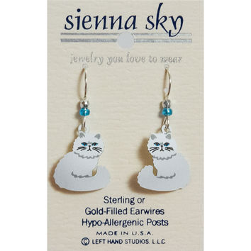 Sienna Sky White Persian Cat W/Blue Eyes Earrings