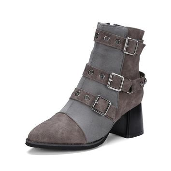 Pointed toe rivets brand shoes women fashion square heels chelsea boots