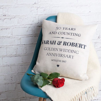 Golden Wedding Anniversary Cushion Cover