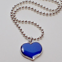 Necklace Mood Changing Heart with Color by LivingOutLoudJewelry