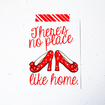 There's no place like home housewarming greeting card wizard of oz ruby slippers white A2 blank red simple heels new home owners