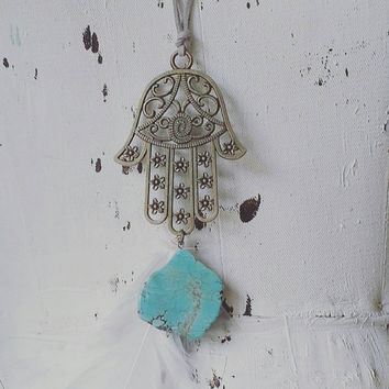 Hamsa Hand Necklace- Hand of Fatima- Long Turquoise Necklace- Feather Jewelry- Boho Necklace- Bohemian Jewelry- Gypsy style- Gray Leather