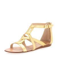 Ida Cutout Covered-Back Flat Sandal, Gold