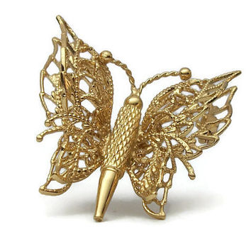 Monet Gold Tone Filigree Butterfly Brooch - Signed Vintage Monet Gold Butterfly Pin - 3D Gold Filigree Butterfly Brooch