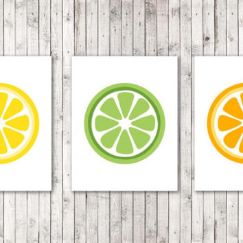 Set of 3 Citrus Prints Citrus Art Orange Lime Lemon Wall Decor Food Art Kitchen Art Bar Décor Fruit Décor Art Print Modern Art colorful Gift