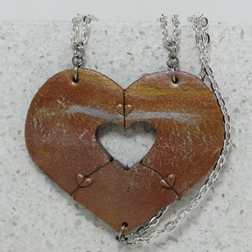 Heart Necklaces set of 3 Metallic Mix Best Friend Jewelry Heart Puzzle Necklace Polymer clay Set #8