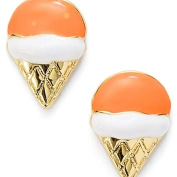 Women's Covet 'Pop Art' Stud Earrings - Orange/ White- Ice Cream