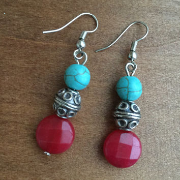 Red Jade and Turquoise Earrings, Turquoise Earrings, Gem Stone Earrings, Boho Earrings, Red Jade Earrings, Jade Earrings, Silver Earrings