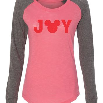 "Womens ""Mickey Joy"" Long Sleeve Elbow Patch Contrast Shirt"