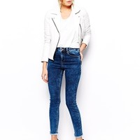 ASOS Ridley High Waist Ultra Skinny Ankle Grazer Jeans in Mottled Acid