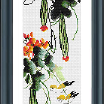 Watercolor DDW0207, Cross Stitch Pattern, Bird Cross Stitch,Flower Cross Stitch, Floral Cross Stitch,  Colorful Cross Stitch