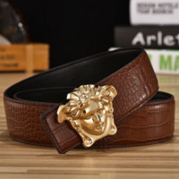 Versace  Man Fashion Smooth Buckle Belt Leather Belt