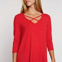 Lime N Chili Criss Cross Top for Women in Red LT2195-RED