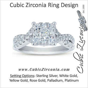 Cubic Zirconia Engagement Ring- The ________ Naming Rights 1230 (1.25 TCW Princess Cut with Cross Split Band)