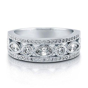 0.42 Carat Rhodium Plated Sterling Silver Cubic Zirconia CZ Art Deco Half Eternity Band Ring