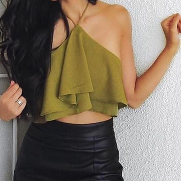 New fashion sexy off shoulder layered backless top