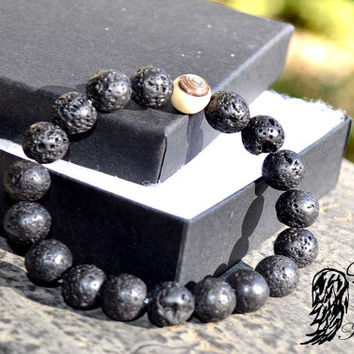 Men's Lava with Evil Eye  Bracelet, Comes with Angel Message drawn from angel tarot cards and Protection Spell , guardian angel, unisex