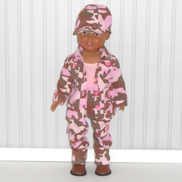 Pink Camouflage Hunting Outfit Halloween Costume for 18 inch dolls Jacket with Pants and Pink Tank Top and Hat
