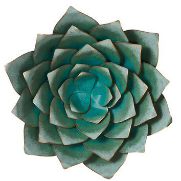Layered Succulent Metal Wall Decor - 16-1/2-in