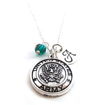 United States Army Charm Necklace - Personalized Sterling Silver Jewelry