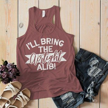 Women's Matching Party Tank Bachelorette Party Shirt TShirt Best Friends Bring Alibi Top