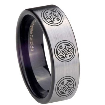 8MM Silver Black Multiple Doctor Who Pipe Cut Tungsten Carbide Laser Engraved Ring