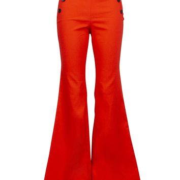 Retro Red High Waisted Flared Bell Bottom Pants with Buttons