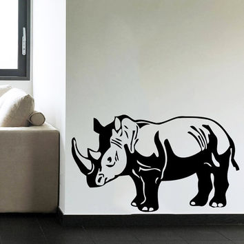 Wall Decal Vinyl Sticker Decals Art Home Decor Design Mural Rhino Animals Jungle Safari African Kids Children Nursery Baby Bathroom AN62