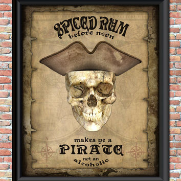 Pirate Digital Art Print Vintage Antique Bar Sign Steampunk Skull Rum Goth Grunge Wall Printable Home Office Kitchen Bedroom Decor Halloween