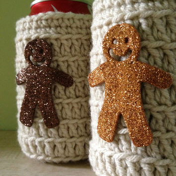 Gingerbread Man Koozie, Bottle or Can Koozie, Ugly Sweater Beer Koozie, CIJ, Ugly Christmas Sweater Party Favors, Crocheted Koozie