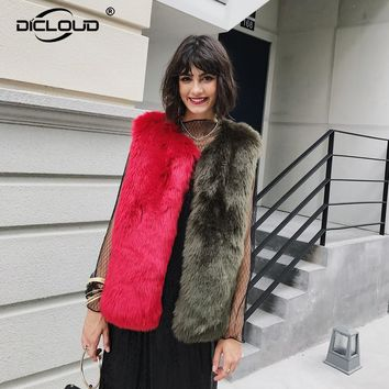 Shaggy Fur Fur Vests Women 2017 Autumn Winter Thicken Warm Faux Fur Jackets Coats Fluffy Fox Fur Waistcoat Sleeveless Outerwear