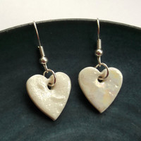 Heart Dangle Earrings - Porcelain Jewellery great Mothers Day Gift of Jewelry