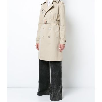 Adam Lippes Trench Embellished Buttons Coat - Khaki Long Sleeve Coat