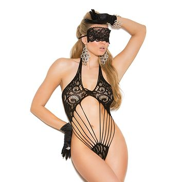 Plus Size Lace Teddy And Mask Set