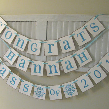 Graduation Banner Bundle Three Custom Graduation Garlands Buntings Signs Great Grad Party Photo Props