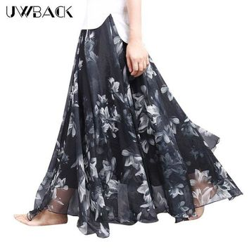DK7G2 Uwback Women Chiffon Skirt Floral Floor Length Women Long Maxi Skirts Loose Boho Beach Skirt 2017 New Summer Fashion Wear, EB129