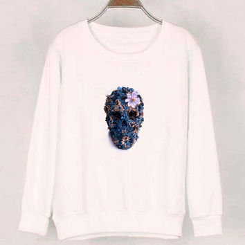 skull flower sweater White Sweatshirt Crewneck Men or Women for Unisex Size with variant colour