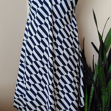 Summer Dress for Women, Nautical - Strappy Asymmetric hem Chevron Dress Handsewn HandmadebyNadya