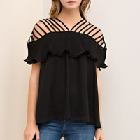 Strappy Top with Ruffle - Black