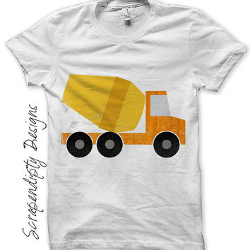 Iron on Cement Truck Shirt PDF - Construction Iron on Transfer / Kids Boys Clothing Tshirt / Truck Birthday Party / Printable Design IT232-C