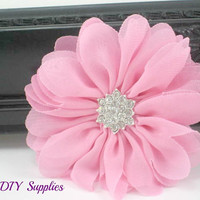 Pink daisy chiffon flower with star rhinestone center - hair clip flower - fabric flowers - wholesale flowers - hair bow supplies